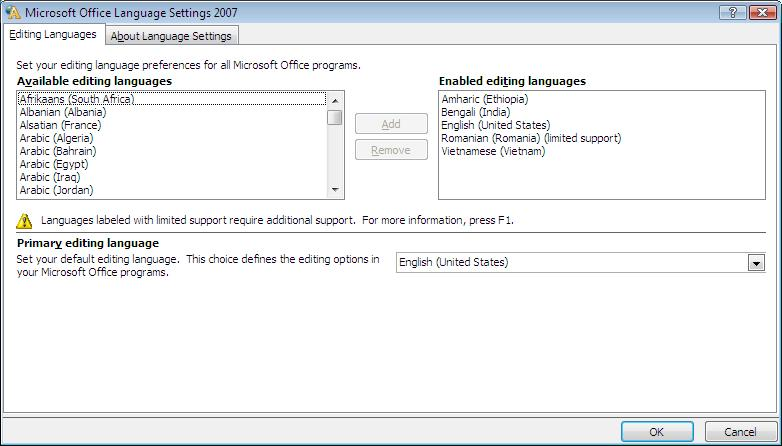 Go To Start Programs Microsoft Office Tools 2007 Language Settings Highlight The You Wish Enable